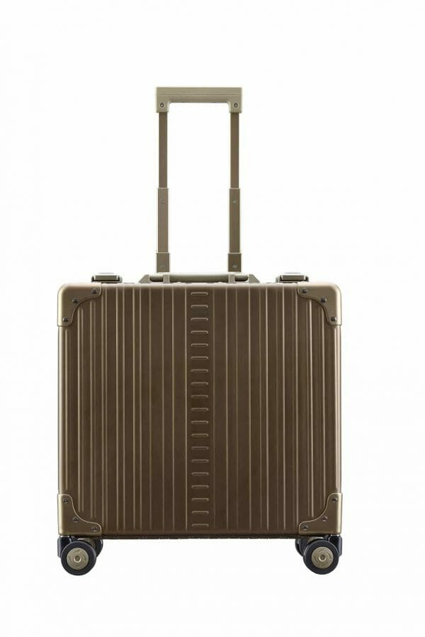 Vertical wheeled laptop case bronze aluminum briefcase for business trips
