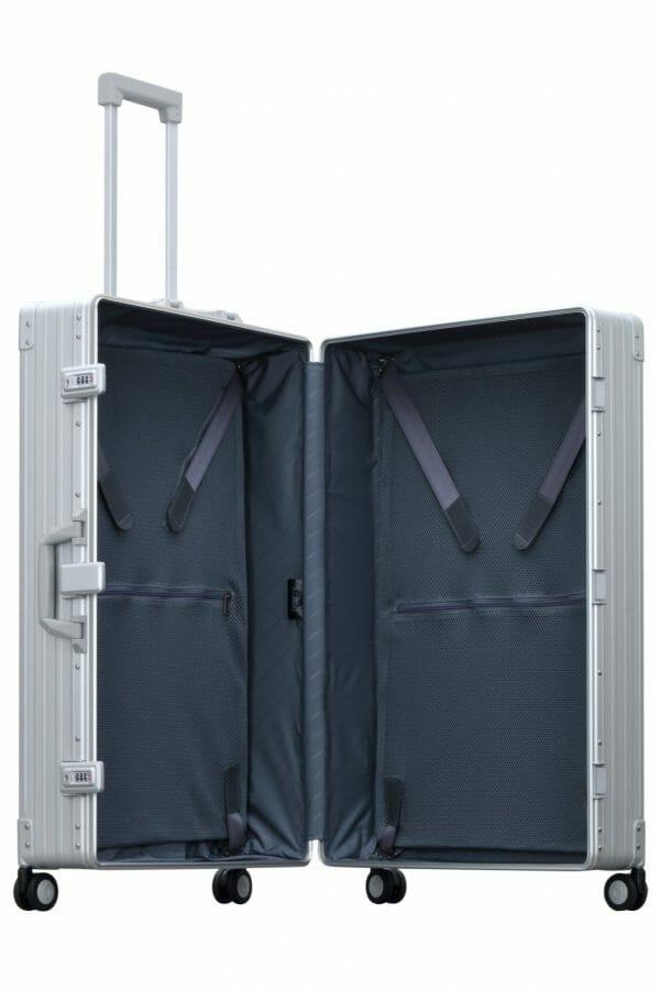 aluminum luggage opened
