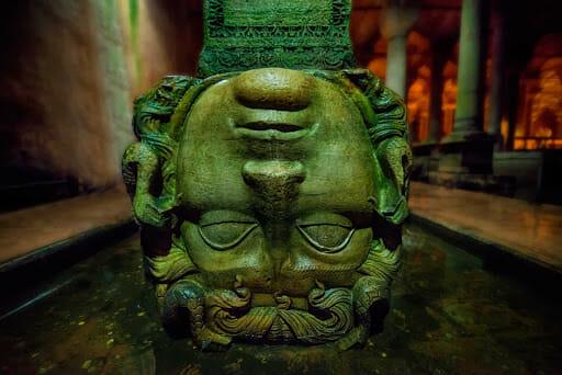 Medusa head in stone upside down in turkey