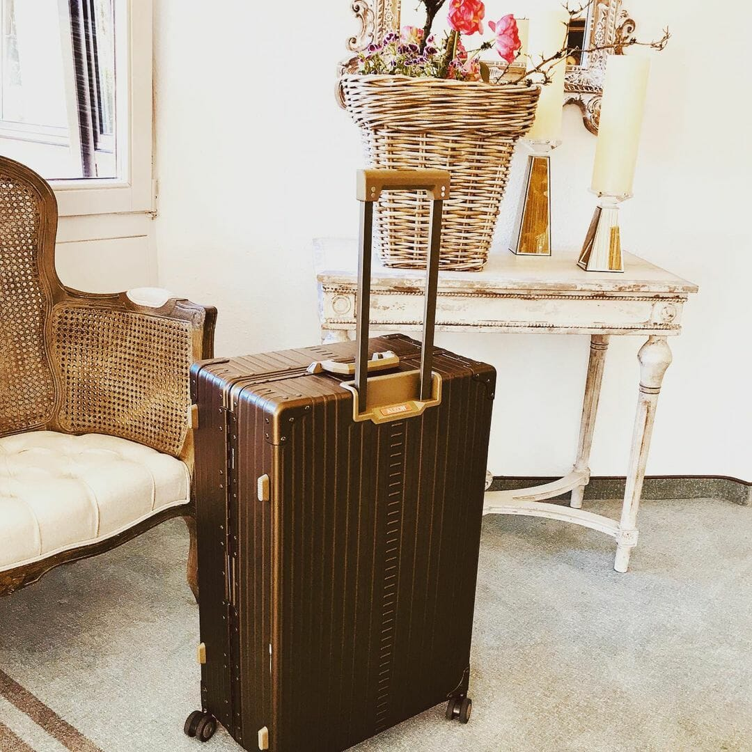 aluminum Carry on in hotel